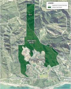 Map it out — Out of the 830 acres of space Pepperdine owns, 550 of them are open.  The open space is necessary for the health of the environment. Courtesy of California Coastal Commission.