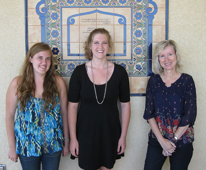 SPF Research //  Chemistry Professor Jane Ganske (right) and student research assistants Maddy Byrd (center) and Marissa Kaak (left) spent the summer researching the potentially negative effects of titanium dioxide, an ingredient in many sunscreens.