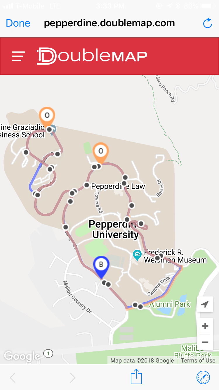 Pepperdine Malibu Campus Map.Shuttle System Offers New Hours New Stops And New Library Escort