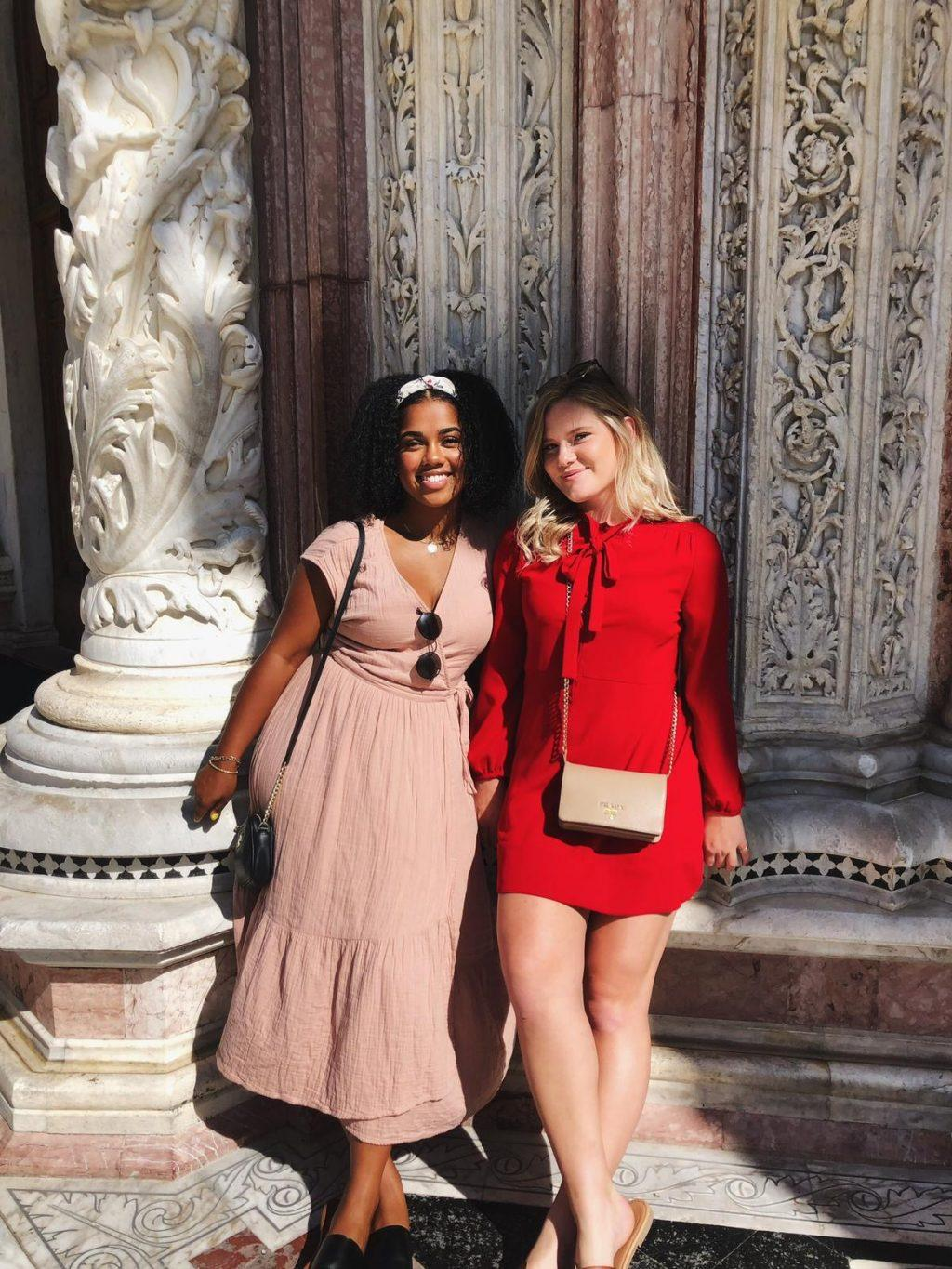 Camryn Moss and her roommate Sarah Gorman stand in front of marble architecture in Florence. Photo courtesy of Camryn Moss