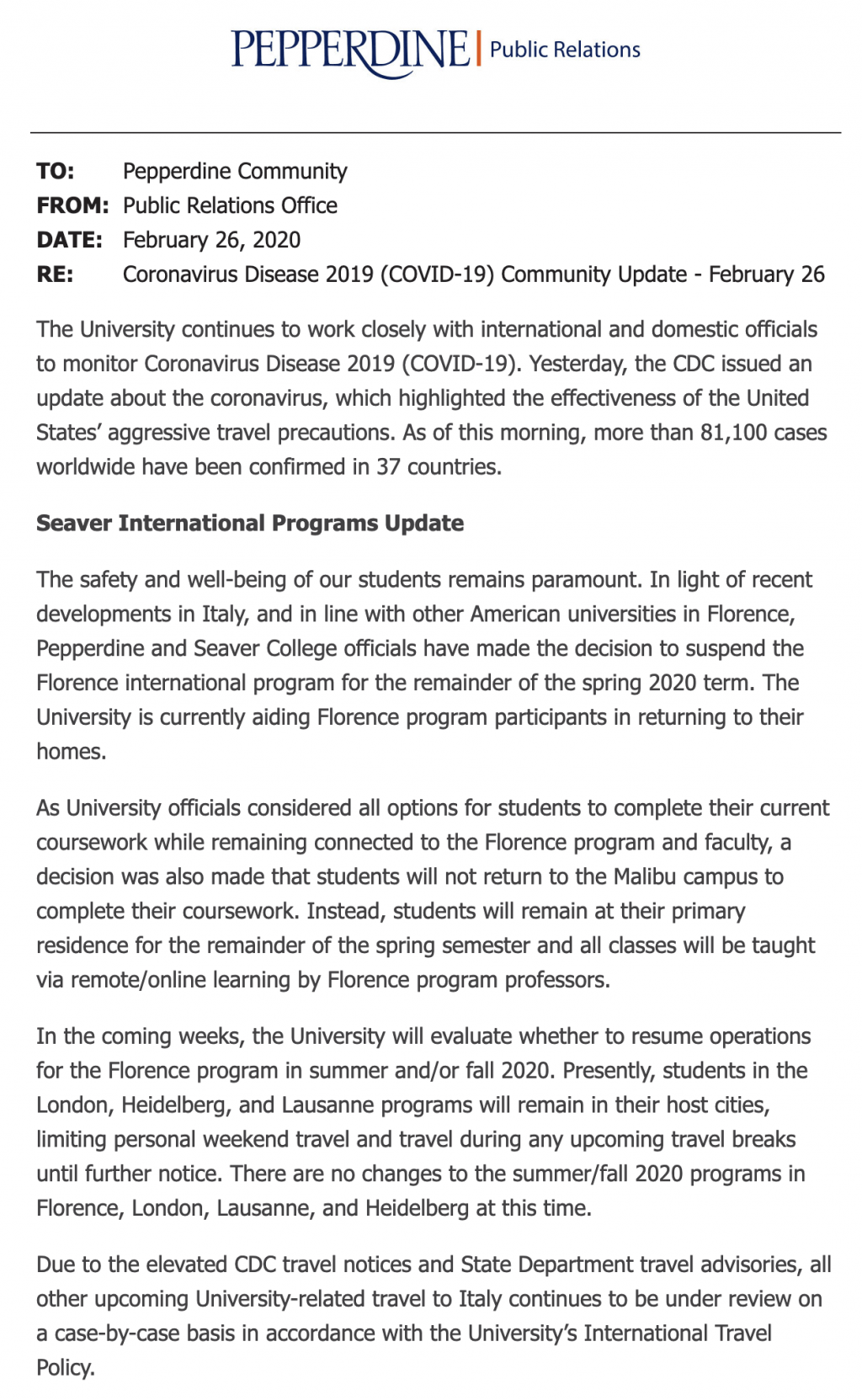 The Pepperdine press release sent to the entire university Feb. 26 regarding updates to Pepperdine abroad programs.
