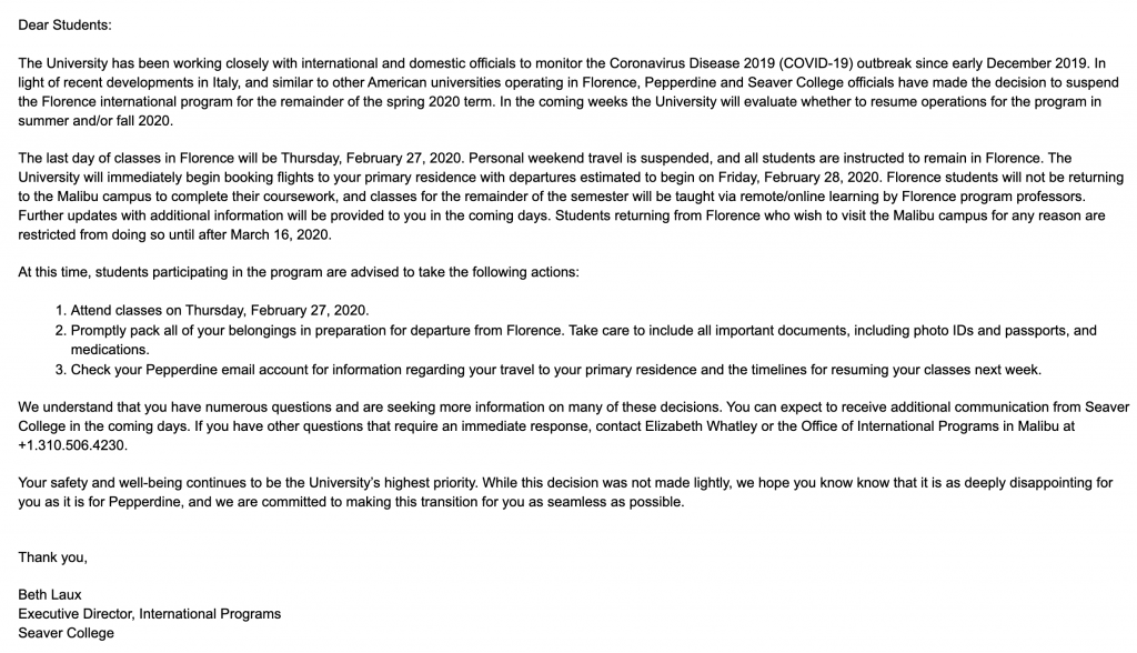 The email sent to Florence program participants Feb. 27 from International Programs about the suspension of the program.