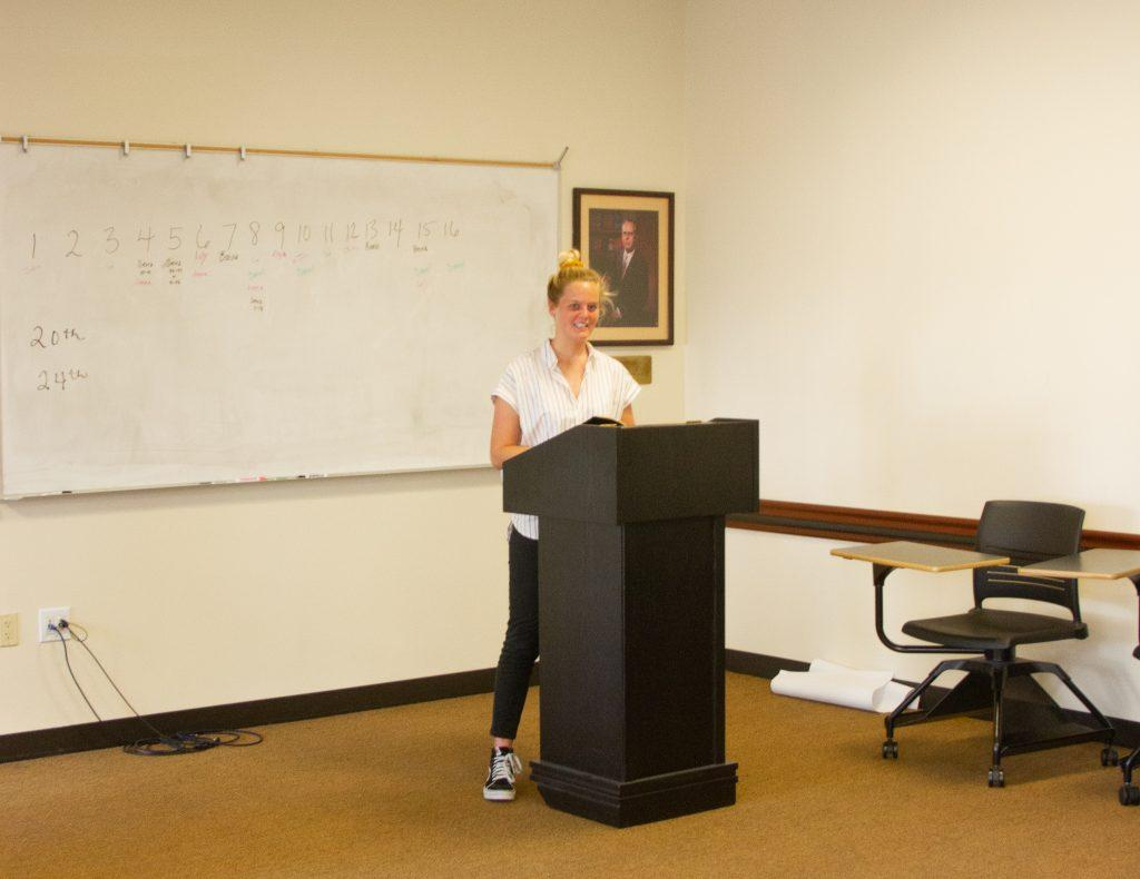 Graduate student Sierra Perry shares an original sermon with the class Tuesday, Feb. 25. Perry said she was excited to learn about preaching from a woman's perspective.
