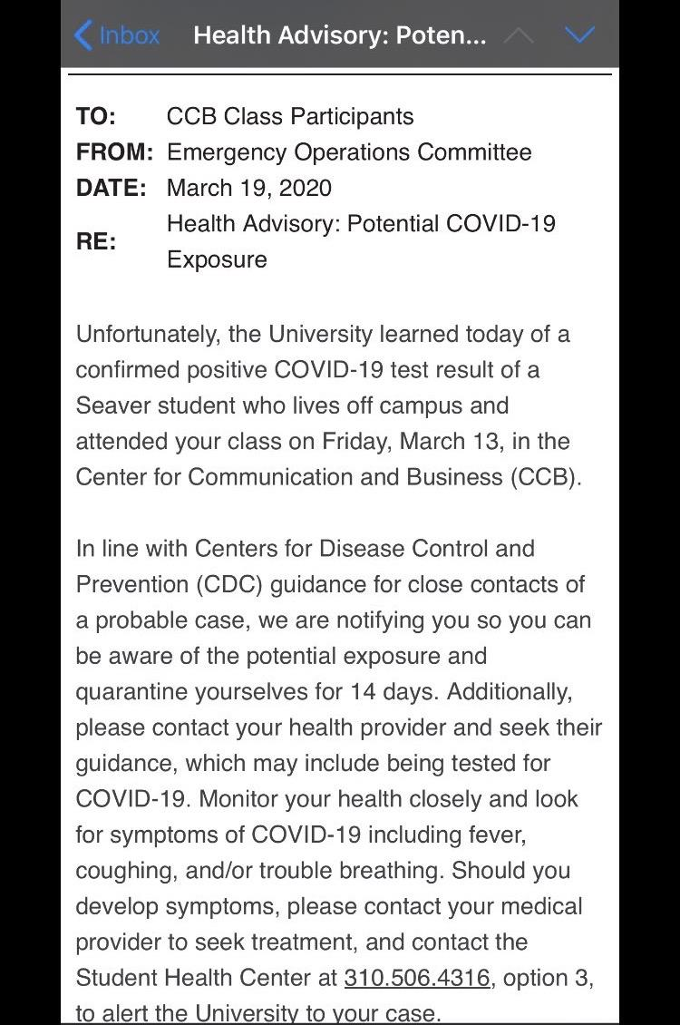 Pepperdine sent this email to students in an unspecified Center for Communications and Business (CCB) class notifying them a Seaver student who tested positive for COVID-19 was in their class.