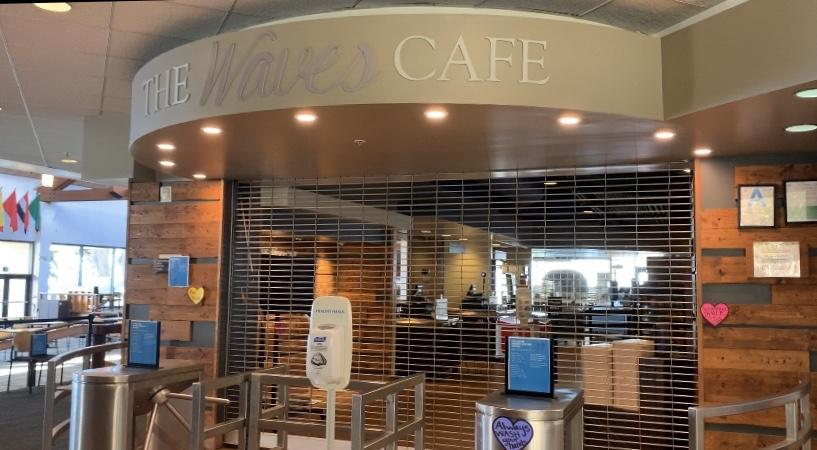 The Waves Cafe is one of the only operations still open on campus under an adjusted dining schedule. The Cafe is only open for three two-hour meal periods per day.