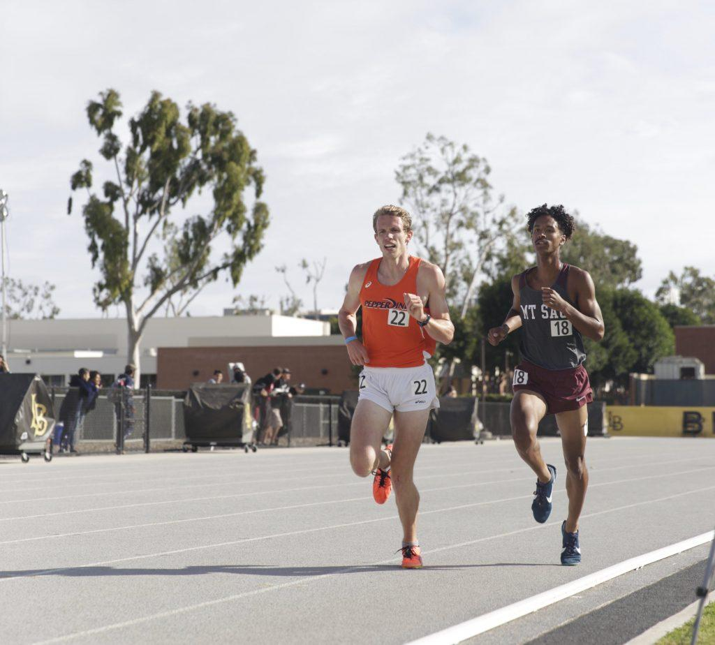 Senior track captain Jalen Frantal finishes strong in a 3,000-meter race March 7, at Long Beach State. The race would be his last in a Waves uniform. Photo courtesy of Lindsay Sanger | Pepperdine Athletics