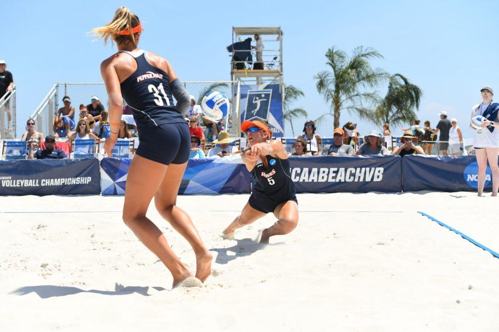 Deahna Kraft (left) and Gigi Hernandez play together at the 2019 NCAA Beach Volleyball Championships in Gulf Shores, Ala. Kraft and Hernandez are both seniors in 2020 and will not get the chance to play for another championship. Photo courtesy of Sarah Otteman | Pepperdine Athletics