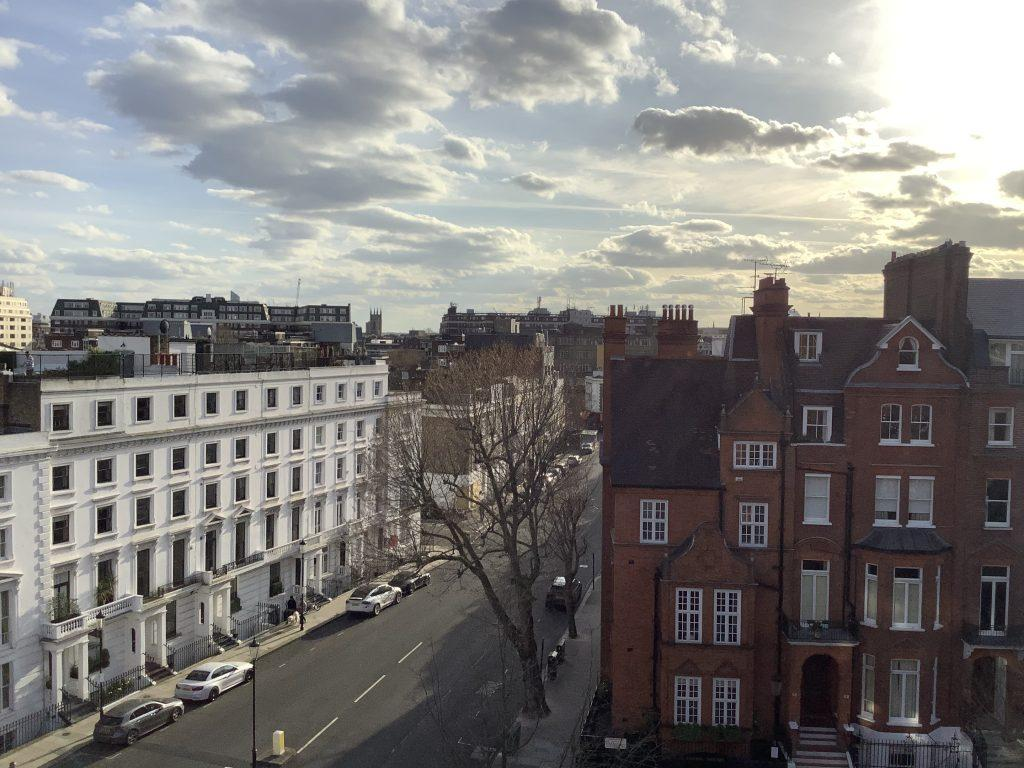 The usually crowded streets of central London, England, visible from Professor Fiona Stewart's apartment, stand quiet and empty amid quarantine measures. Photo courtesy of Fiona Stewart