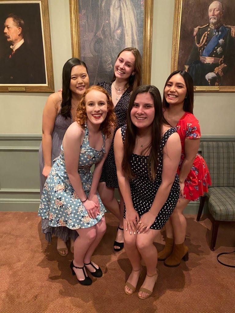 London roommates Rachel Pai, Pari Cribbins, Katherine Le, Jenna Hale and Bryn Sandine pose together one last time at the London program's final banquet. Photo courtesy of Jenna Hale