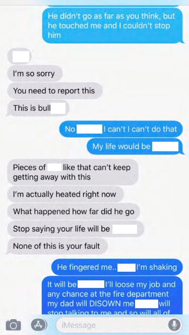 Text conversations between Doe and her friend. Courtesy of the DPS incident report.
