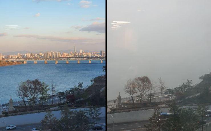 Air pollution in Seoul, South Korea, on a clear day (left) versus a hazardously polluted day (right). Reports estimate that about 50% of Seoul's pollution is particulates that have blown over from industry-heavy China. Photo from The Korean Times