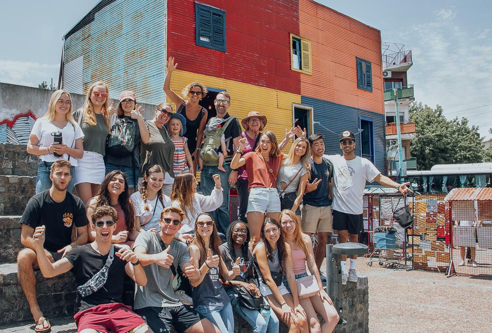 Buenos Aires spring semester students pose in La Boca, Buenos Aires, during a city tour their first weekend in the city. Photo courtesy of Stephen Davis