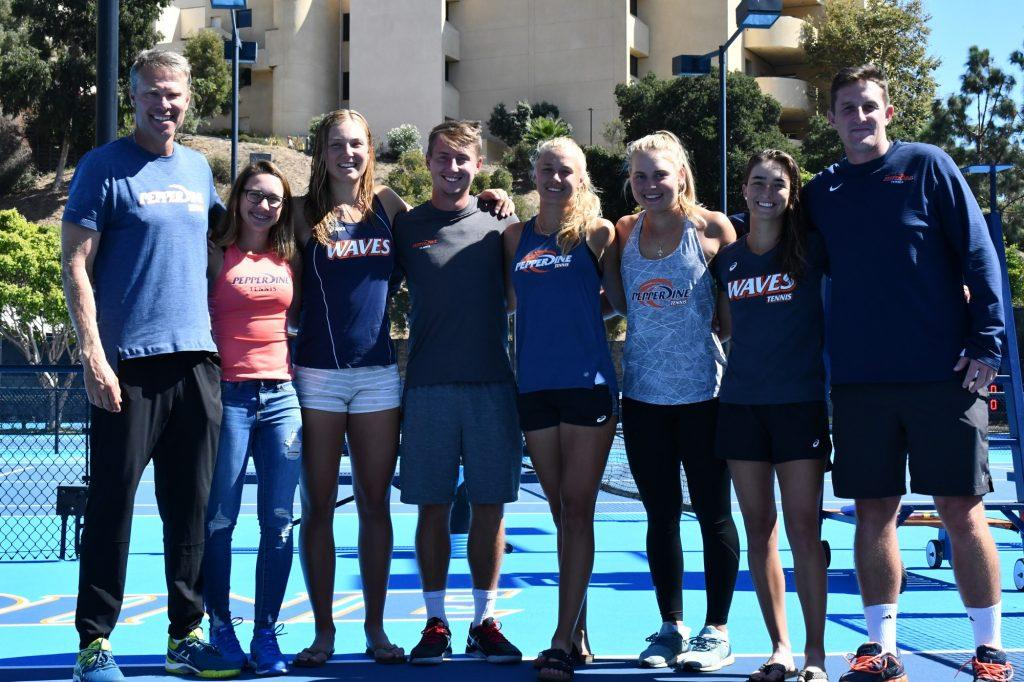Ashley Lahey poses with her teammates and coaches at the Ralphs-Straus Tennis Center in October 2019 after winning the Women's Collegiate Invitational, her second of three individual titles during the fall season. Lahey defeated fifth-year teammate Jessica Failla in the tournament's singles final. Photo courtesy of Pepperdine Athletics