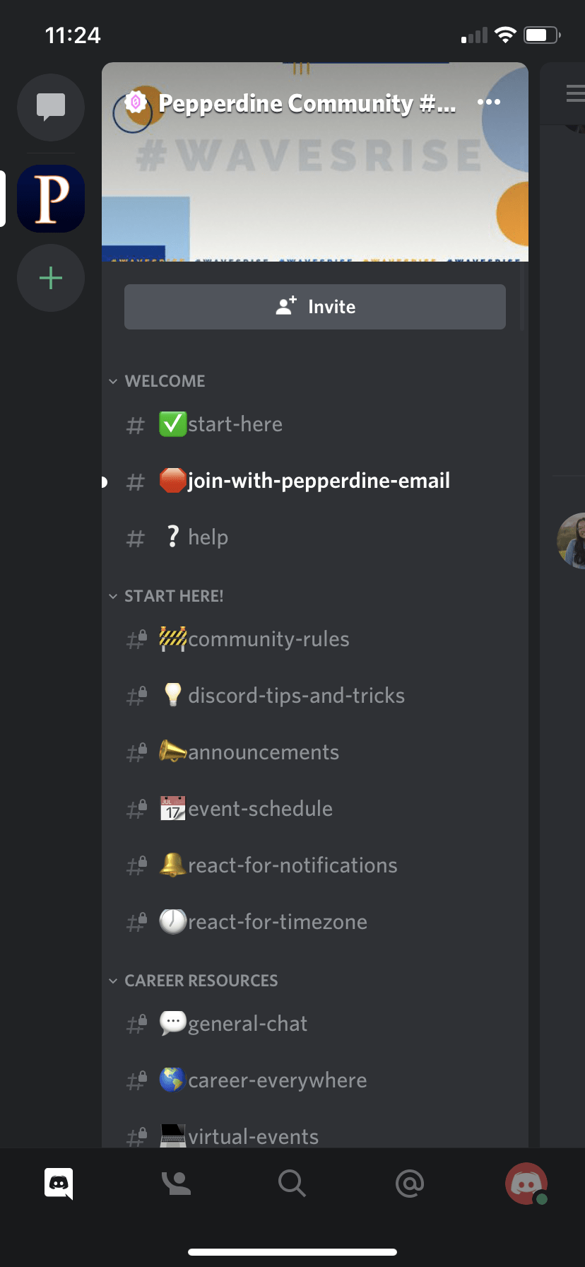"This screenshot of the Discord app shows its general layout and features. When students sign up, they will be guided through a ""start here"" page, which will then provide them access to the entire community&squot;s posts."