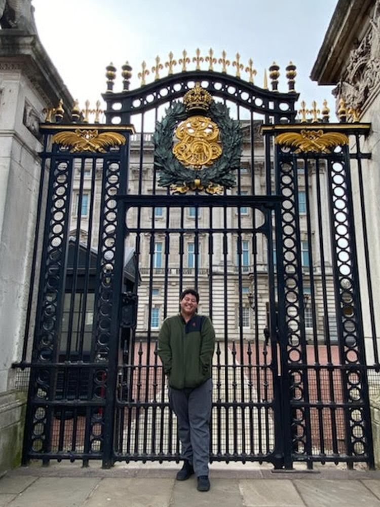Zohary outside the gates of Buckingham Palace. This photo was taken on a disposable camera and is one of the few photos Zohary has from his time in London because his phone was stolen in Spain.