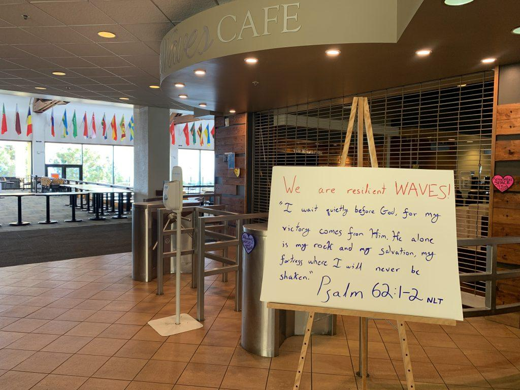 "Waves Cafe, affectionately called the ""Caf"" by Pepperdine students, closed mid-March after Pepperdine transitioned to remote learning. Students were able to eat in a grab-and-go format, but the dining hall has been closed since the transition to online coursework. Photo by Kayiu Wong."