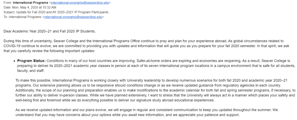 A screenshot of the email from International Programs Director Beth M. Laux sent May 4 to students participating in study abroad for the 2021 academic year or fall 2020.
