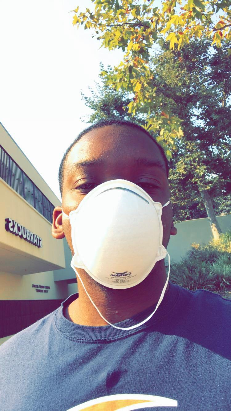 Freshman Myles Dennis uses a mask to protect himself while on the Pepperdine University, Malibu campus. Photo courtesy of Myles Dennis.