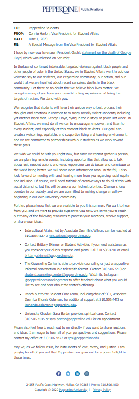 A screenshot of Vice President of Student Affairs Connie Horton's email to students sent May 30.