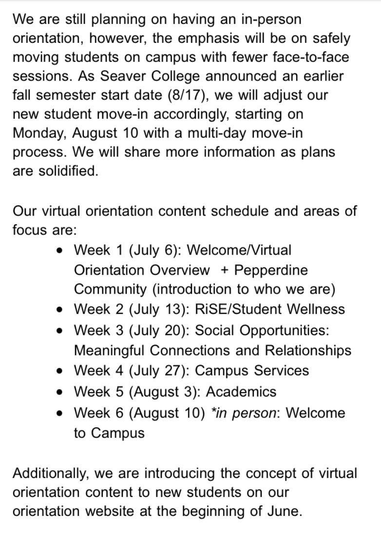A screenshot of the May 27 email sent to orientation presenters and campus partners outlining the new NSO plan.