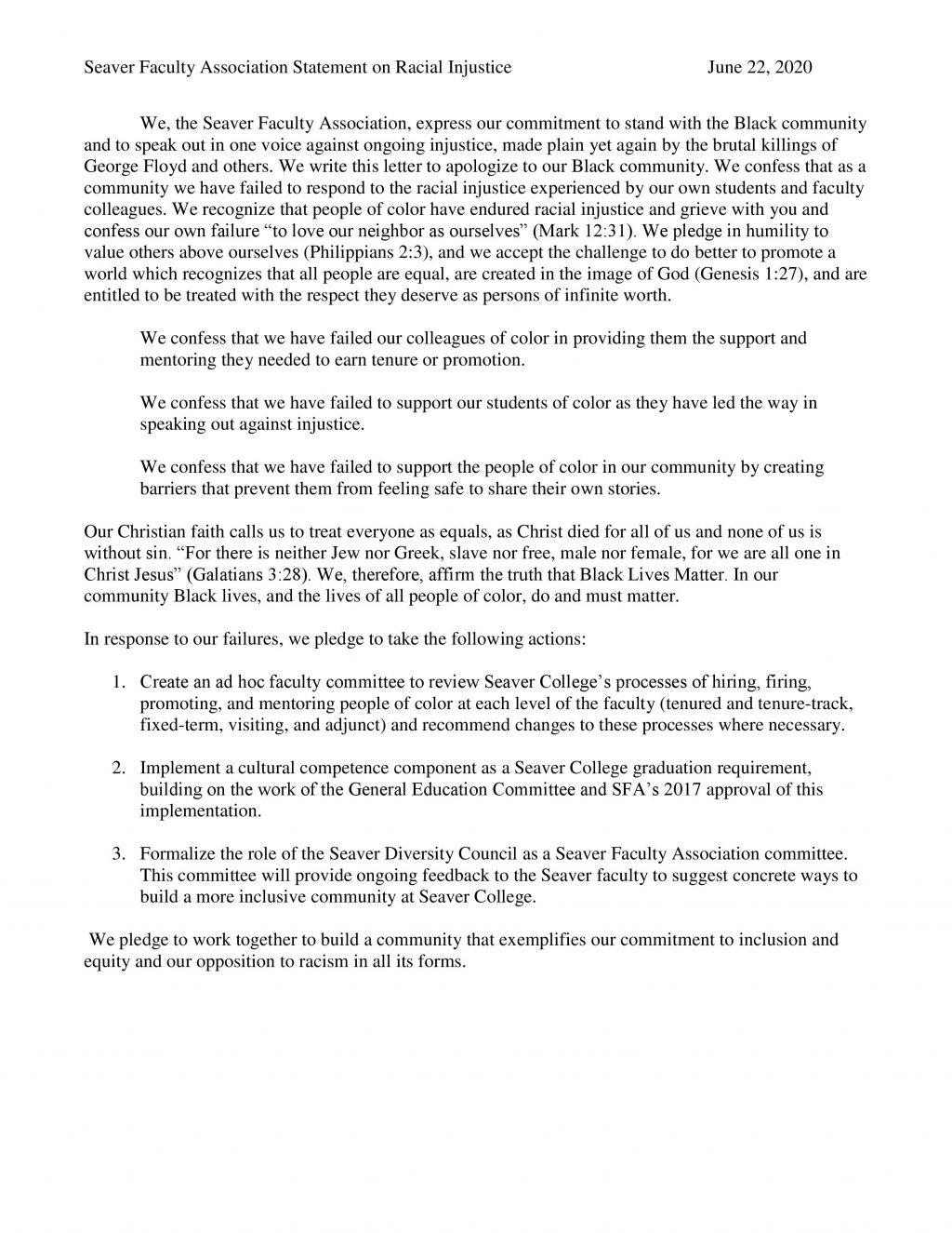 The Seaver Faculty Association's statement on racial injustice and the action the SFA plans to take against racism on campus.