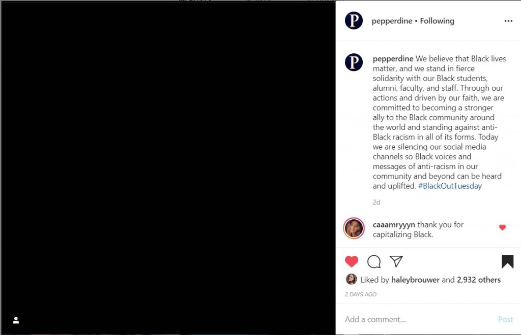 A screenshot of Pepperdine's June 2 Instagram post.
