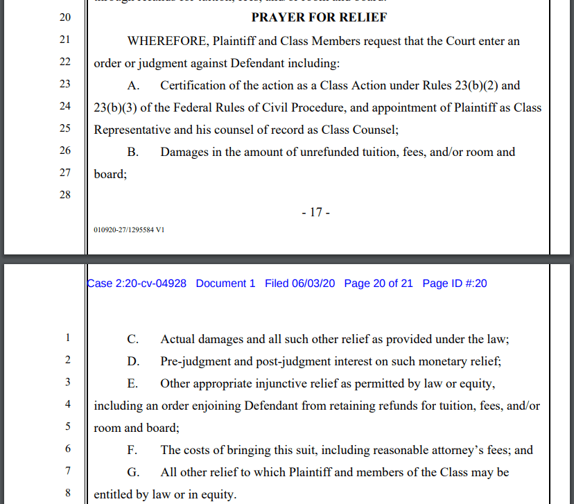 A screenshot of the lawsuit on ClassAction.org, detailing what Pepperdine graduate parent Joseph Pinzon seeks in damages.