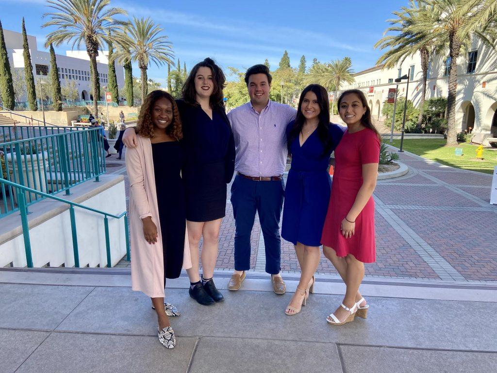 From left to right, Inter-Club Council representatives Ashia Davis, Tiffany Hall, Jared Maguire, Lizzy Kovach and Sabrina Willsion attend a leadership conference at San Diego State University. Maguire said he brought back fun and innovative ideas to use at Pepperdine.