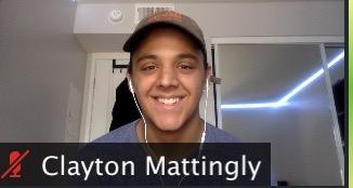 Mattingly smiles on Zoom. He said theater students spend so much time outside of the classroom, and now that school is online, they are learning to adjust as they perform through a screen. Photo courtesy of Clayton Mattingly