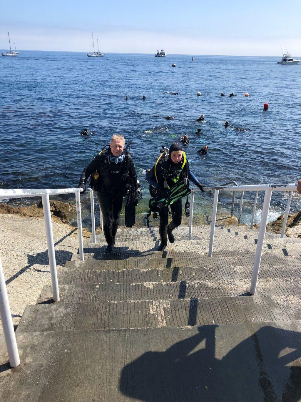 Ishak walks up stairs after scuba diving with friends at Santa Catalina Island, California. He earned his advanced scuba driver certification in 2016.