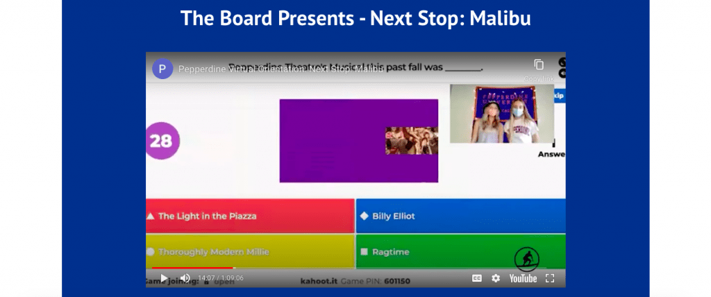 The Student Programming Board presents a Kahoot! trivia game, titled Next Stop: Malibu, as a live portion of NSO.