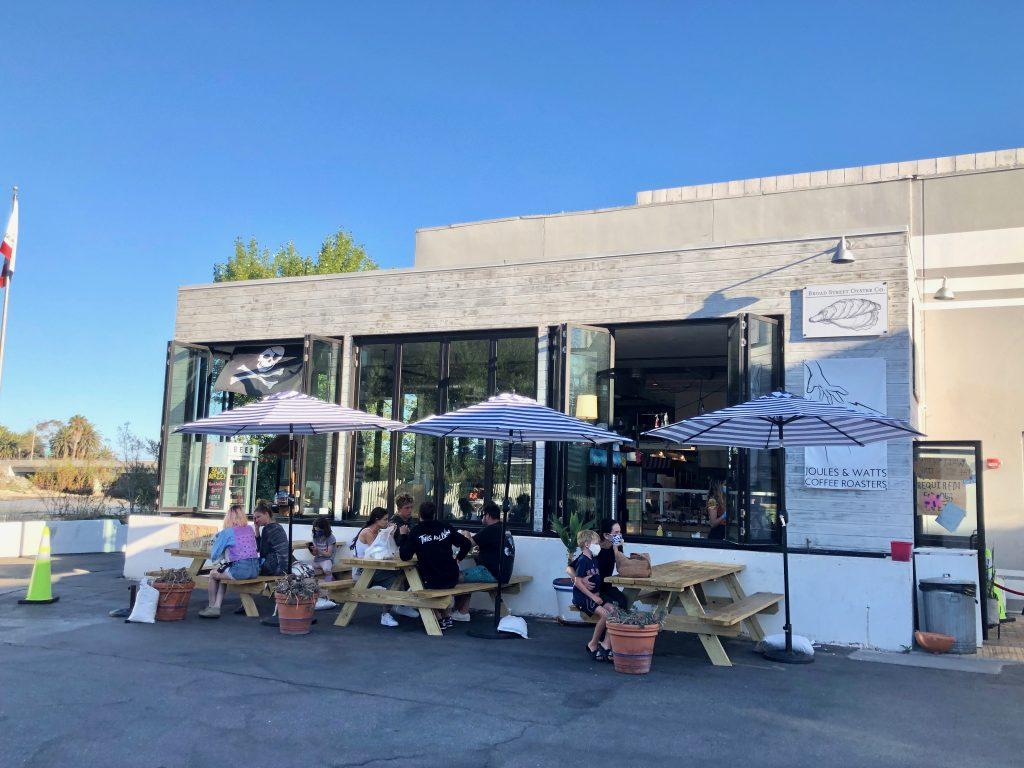 Customers dine at outside seating at Broad Street Oyster Company.