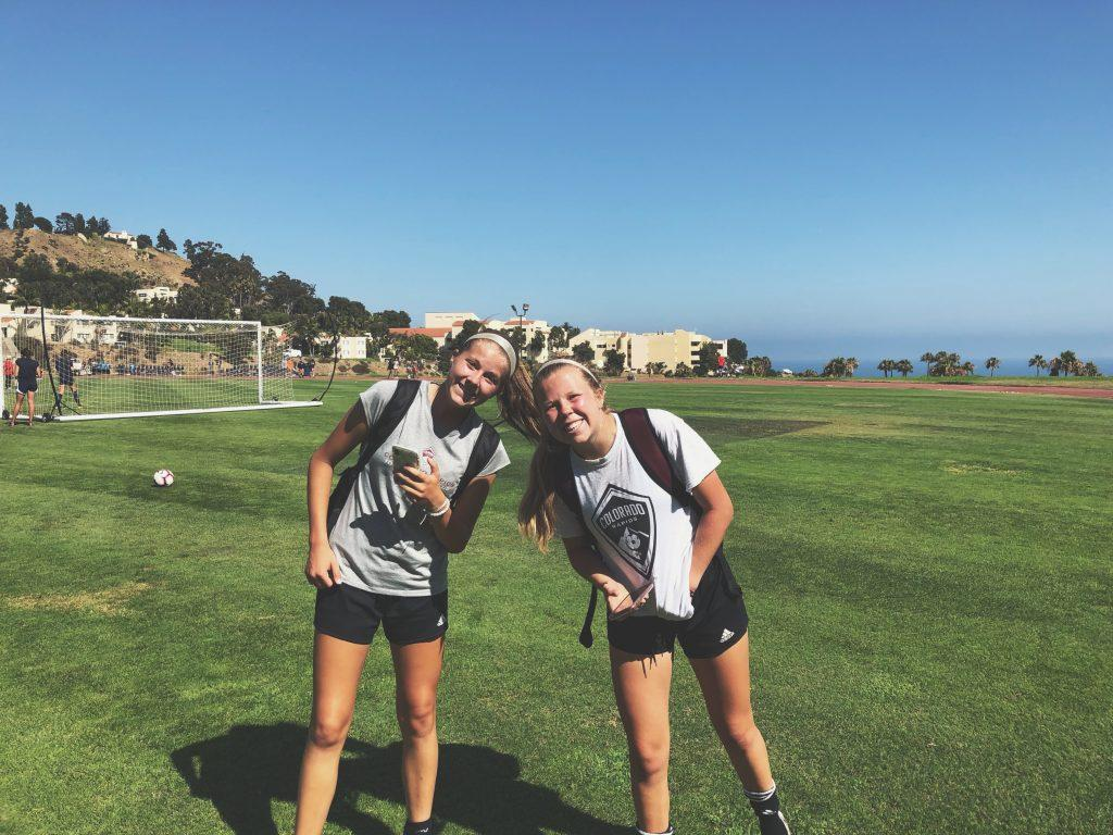 Freshman goalkeeper Ellie Sommers (right) poses with a fellow recruit during a visit to Pepperdine. Sommers has not been able to return to campus since committing and remains home in Colorado. Photo courtesy of Ellie Sommers