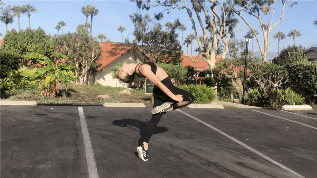 Bridges practices a piece in a parking lot in Malibu. Due to COVID-19, DIF members have had to dance in their separate homes. Photo courtesy of Darcie Hill