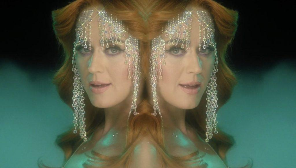 """In the music video for """"Champagne Problems,"""" Perry embodies the old Hollywood while she sings in a glamorous sequin costume. Perry said the relationship ups and downs with fiancé Orlando Bloom were the inspiration for this '80s-vibe disco bop. Photo courtesy of Vevo"""