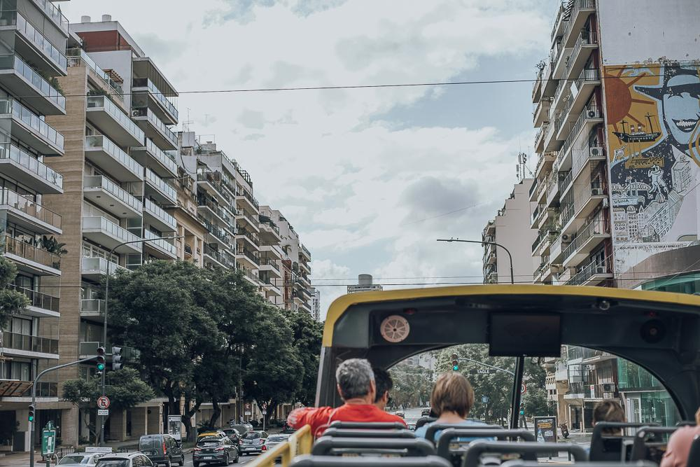 A double-decker bus cruises through the streets of Buenos Aires in January. Hill-Weber said the city remains in a strict quarantine. Photo by Ashley Mowreader