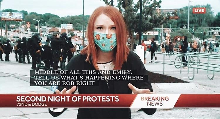 Tencer reports on the second night of protests in Omaha for her station, KETV, in late May. As protests emerged in numerous cities in the U.S. in response to the killing of George Floyd, many journalists wore masks while they reported. Photo courtesy of Emily Tencer