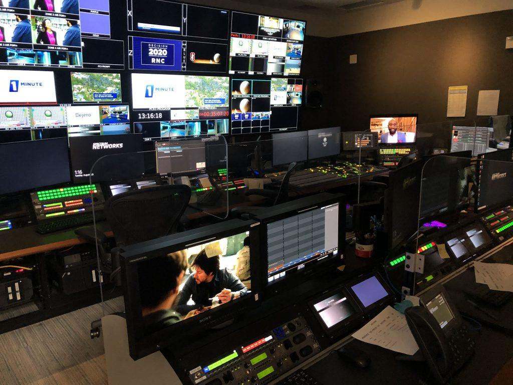 The control room at Spectrum News 1 is where Pepperdine alumnus Logan Hall works as a producer. Hall recently returned to the control room after having to produce newscasts from his home due to the COVID-19 pandemic. Photo courtesy of Logan Hall