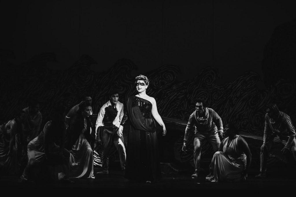 """Senior Haily Watson steps out of the darkness and into the spotlight as the sorceress in the spring 2020 production of """"Dido and Aeneas."""" Watson said she chose Pepperdine for its tight-knit community and the opportunity to study classical music. Photo courtesy of Haily Watson"""
