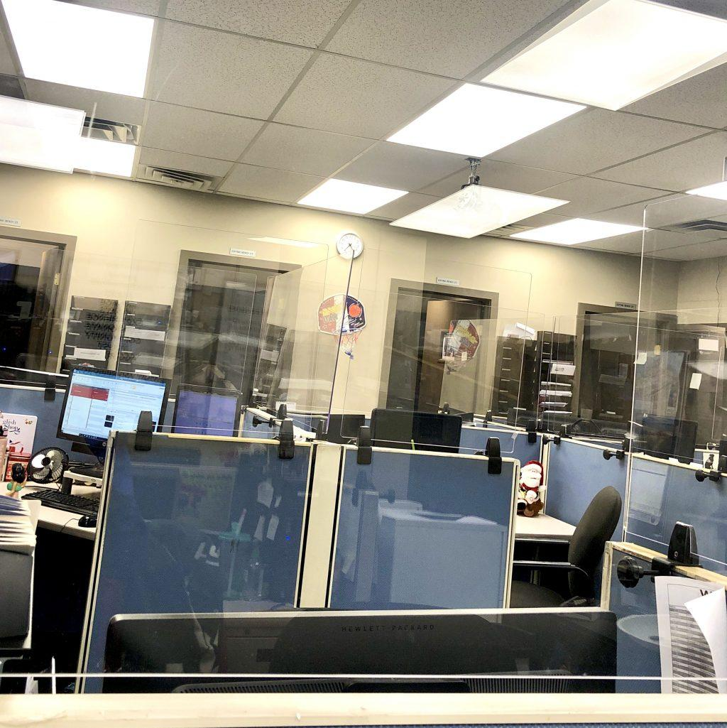 The WLNS-TV newsroom in Michigan is set up with plexiglass to protect staff while they are working. Newsrooms all over the country have added physical safety and health measures due to the COVID-19 pandemic. Photo courtesy of Araceli Crescencio