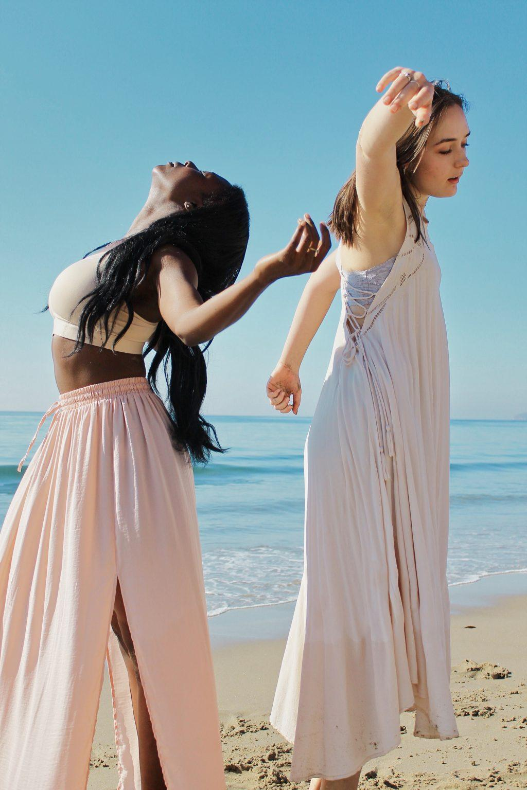 Dancers Hope Horn and Mary Grace Bridges pose during a DIF beach photo shoot. The company organized this shoot last fall in Malibu. Photo courtesy of Darcie Hill