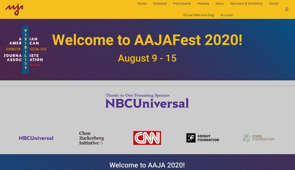 The 2020 Asian American Journalist Association virtual conference greets attendees with a welcome page in August. Kayiu Wong attended the conference and said she found it inspiring and motivating as someone who plans to work in the journalism industry. Photo courtesy of Kayiu Wong