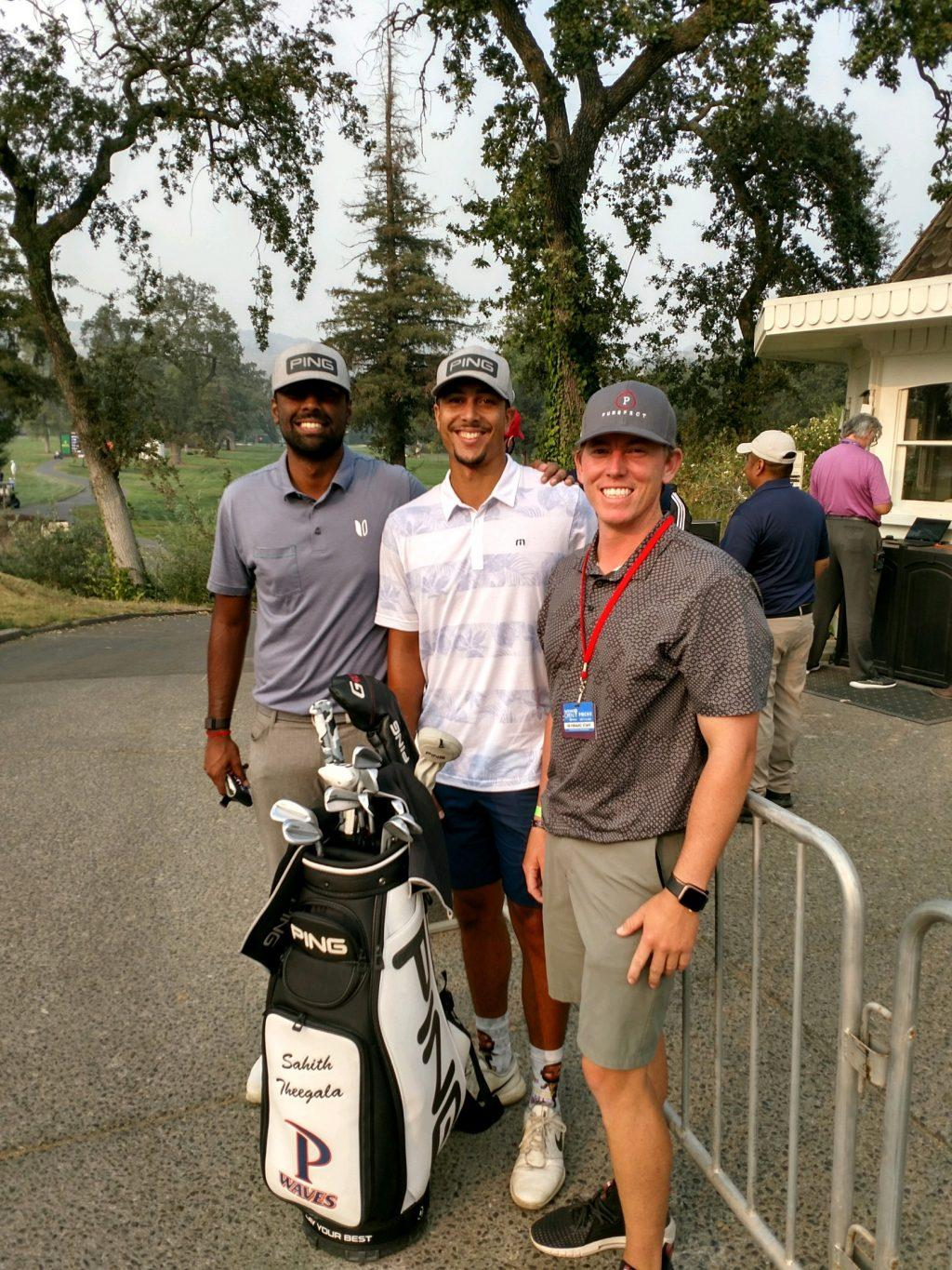 Theegala hangs out with his caddie, Aaron, and friend, Zack, at the Silverado Country Club in Napa Valley, CA. The golfer traveled 400 miles from his home in Chino, CA, to compete at this tournament.