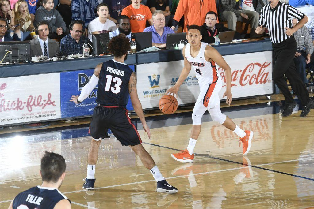 Ross dribbles up the court in a Feb. 15 loss against Gonzaga at Firestone Fieldhouse. Ross said he hopes to lead the Waves to the NCAA Tournament for his final season as a Wave. File photo
