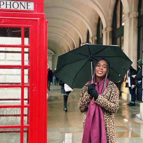 Melomey enjoys a rainy day in London in March during her spring break. She wore a long leopard coat paired with a magenta scarf to keep warm in the overcast weather. Photo courtesy of Rachel Melomey