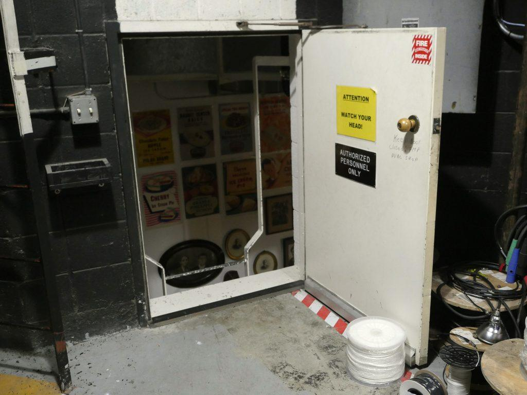 Technical Director Rick Aglietti propped open a small access door March 3. One day when his back was turned, the door, held open by a five gallon can, slammed shut and the can moved toward him, but he did not immediately link it to a paranormal explanation.