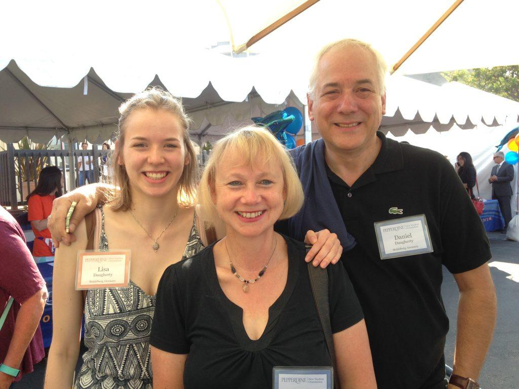 Daugherty smiles with his wife Karin and their daughter Lisa, who began her first year at Pepperdine in 2016. Daugherty said Lisa takes classes online because universities in Germany are remote. Photo courtesy of Daniel Daugherty