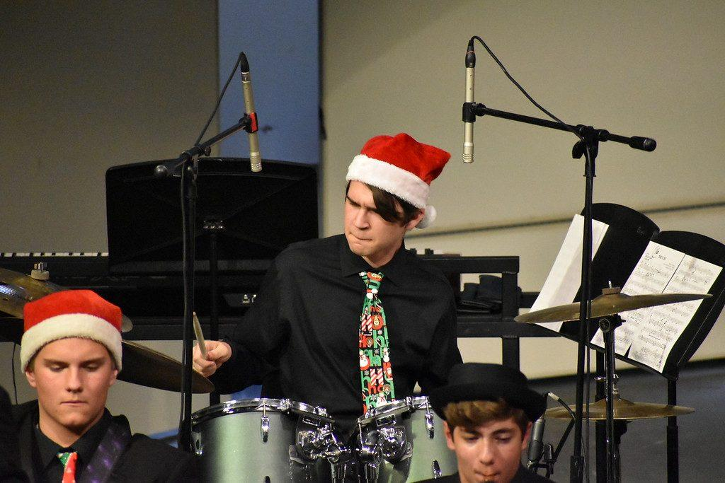 Emrich plays the drums at his high school's 2019 winter jazz band concert. He participated in band, drumline and orchestra throughout high school.