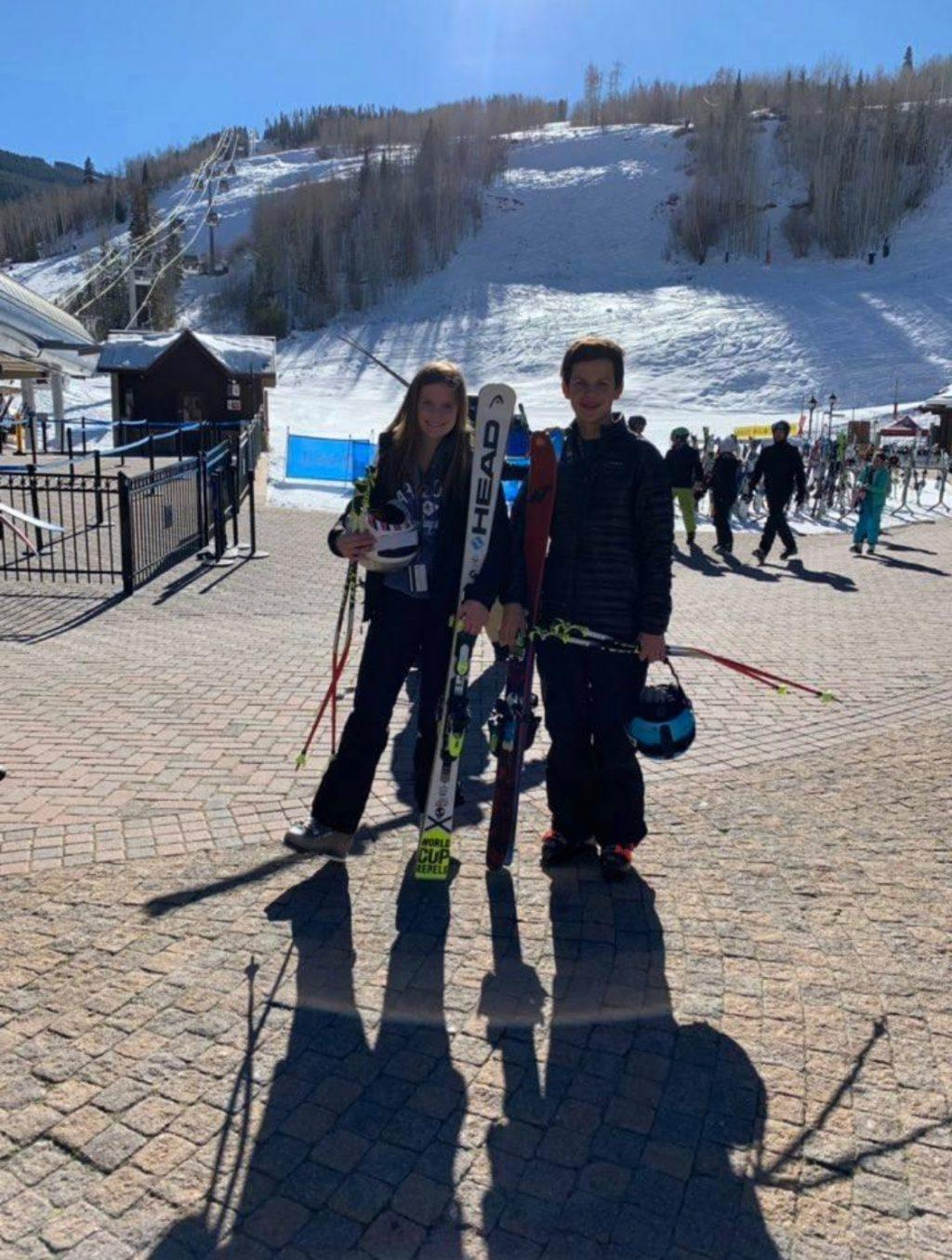 Cullen and her brother Blaine stand at the base of Vail, Colo. after a day of skiing in 2018. Cullen said she constantly skied all throughout middle school and continued a bit in high school.
