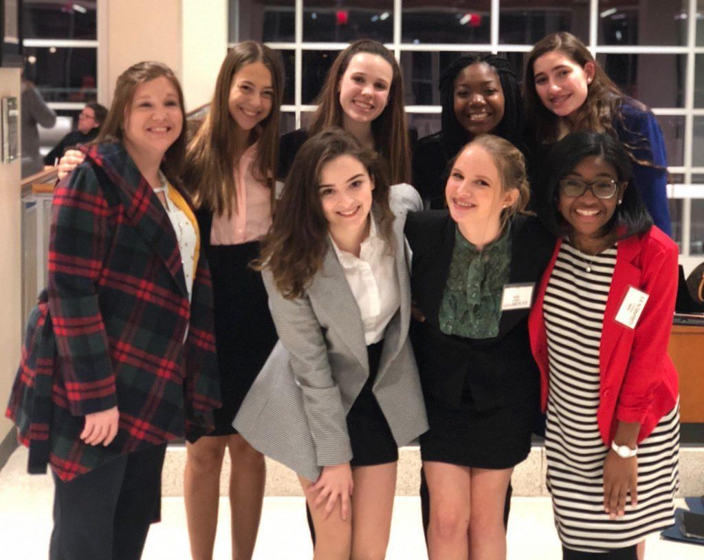 Kovie and her team, GatorMUN, pose at the Model United Nations conference in 2019. The first-year said her team represented India.
